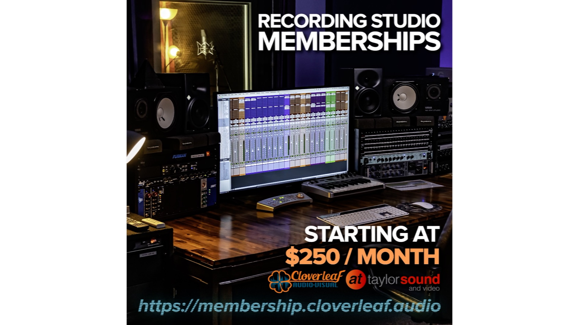 Recording Studio Memberships at Taylor Sound – Managed by Cloverleaf Audio Visual